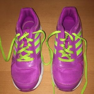 Green and Purple Adidas Sneakers